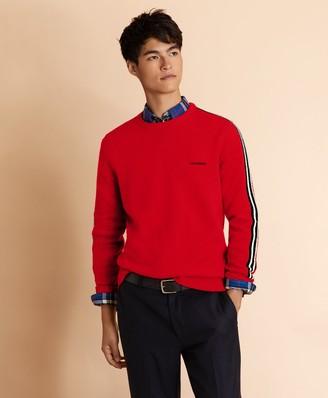Brooks Brothers Striped Sleeve Crewneck Sweater
