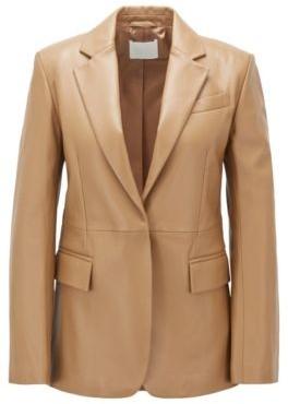 HUGO BOSS Regular Fit Tailored Jacket In Plonge Leather - Light Brown