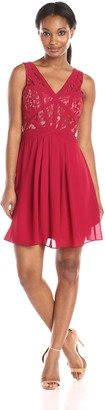 Minuet Women's Sleeveless Skater Dress with Lace Panel Bodice