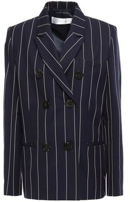 Victoria Victoria Beckham Double-breasted Pinstriped Cotton-twill Blazer