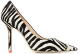 Jimmy Choo LOVE 100 Black and White Animal Print Pony Pointed Pumps with Neon-Orange Trim
