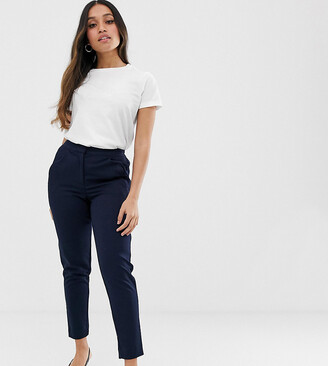 Y.A.S Petite tailored trouser with elasticated waist in navy