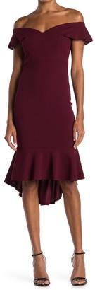 Love, Nickie Lew Off-the-Shoulder High/Low Ruffle Hem Midi Dress