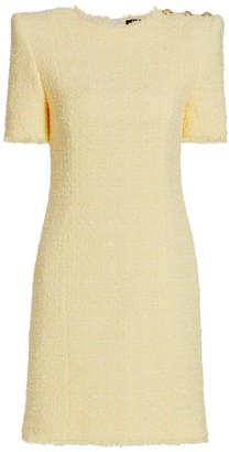 Balmain Structured Shoulder Tweed Dress