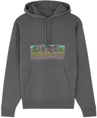 Saint Laurent Grey Printed Hooded Cotton Sweatshirt