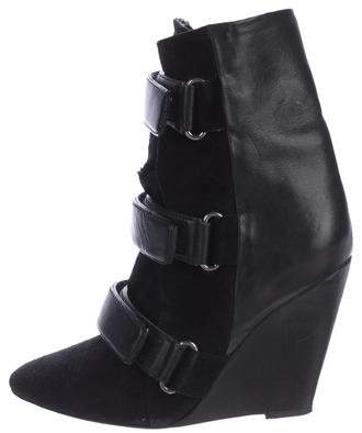 Isabel Marant Leather Wedge Ankle Boots