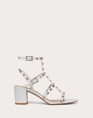 Valentino Rockstud Calfskin Ankle Strap Sandal 60 Mm Women Saddle Brown Calfskin 100% 35