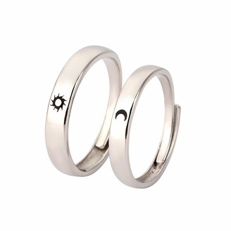 Moent Fashion Sun Moon Star Couple Ring Adjustable Ring Jewelry Engagement Rings for Womens Jewelry Valentine's Day Presents(Sliver-One Size)