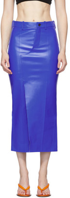 Marni Blue Leather Skirt