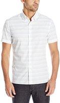 Perry Ellis Men's Horizontal Textured Stripe Shirt
