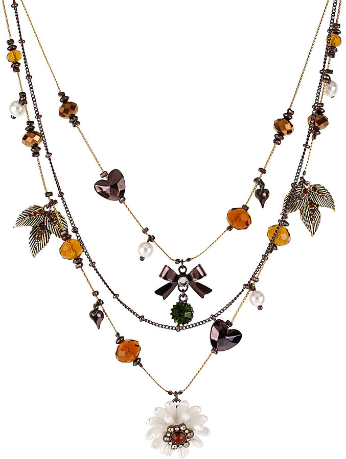 Betsey Johnson Flower And Bead Necklace