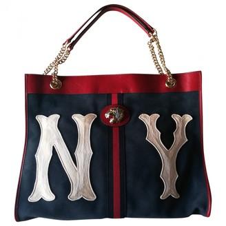 Gucci Rajah Navy Suede Handbags