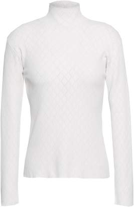 Cédric Charlier Ribbed Pointelle-knit Turtleneck Top