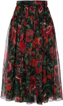 Dolce & Gabbana Exclusive to Mytheresa Pomegranate-print silk organza midi skirt