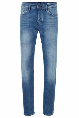 HUGO BOSS Mens Taber BC-C Tapered-fit Jeans in Bright-Blue Comfort-Stretch Denim
