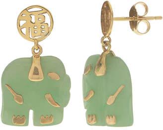 FINE JEWELRY Genuine Jade 10K Yellow Gold Elephant Earrings