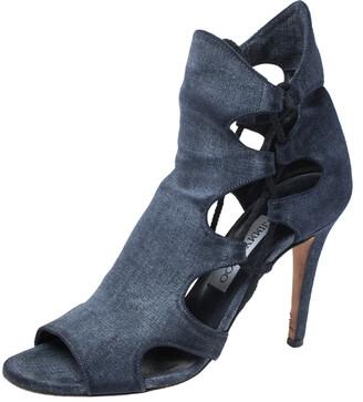 Jimmy Choo Blue Denim Cut Out Lace Detail Lucky Peep Toe Sandals Size 38.5