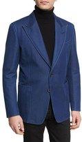 Tom Ford Washed Denim Peak-Lapel Sport Jacket, Dark Indigo