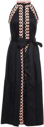 Temperley London Boheme Belted Appliqued Cotton-poplin Midi Dress
