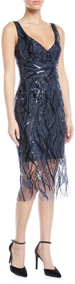 Milly Margaret V-Neck Sleeveless Sequin Dress