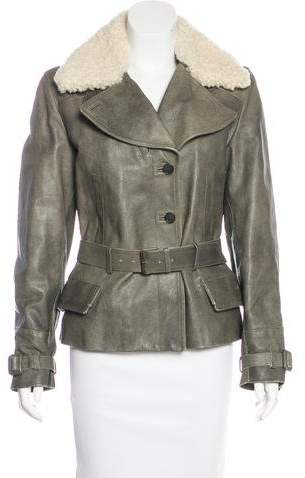 Alexander McQueen Wool-Trimmed Leather Jacket w/ Tags