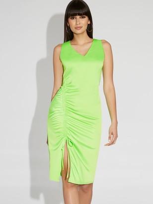 New York & Co. Neon Green Midi Shift Dress - Gabrielle Union Collection