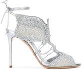 Casadei macramè lace evening sandals