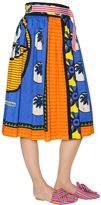 Stella Jean Wrap Over Printed Cotton Gabardine Skirt