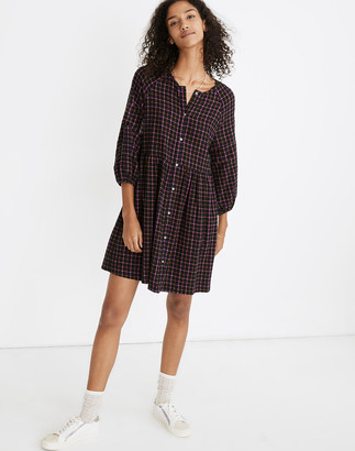 Madewell Plaid Flannel Raglan Button-Front Shirtdress