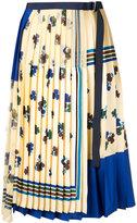 Sacai printed pleated wrap skirt