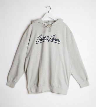 Jack and Jones Plus hoodie in gray