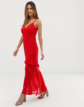 Liquorish cami maxi dress with sheer lace overlay and ruffle detail-Red