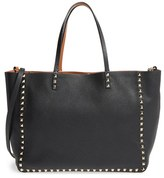 Valentino 'Medium Rockstud - Alce' Leather Tote - Black