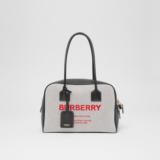 Burberry Medium Horseferry Print Cotton Canvas Half Cube Bag