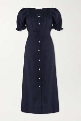 Sleeper Brigitte Belted Linen Midi Dress - Midnight blue