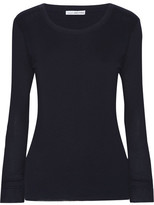 James Perse Ribbed Cotton And Cashmere-blend Top - Midnight blue