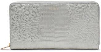 Smythson Metallic Croc-effect Leather Continental Wallet