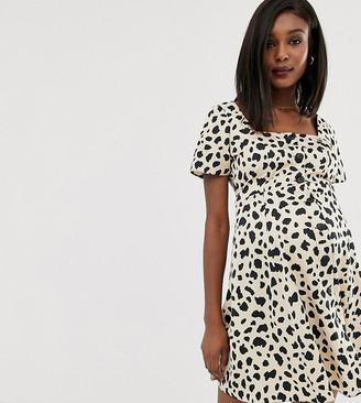 Asos DESIGN Maternity button through mini skater dress in leopard print