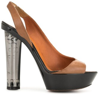 LANVIN Pre-Owned Clear Heel Slingback Sandals