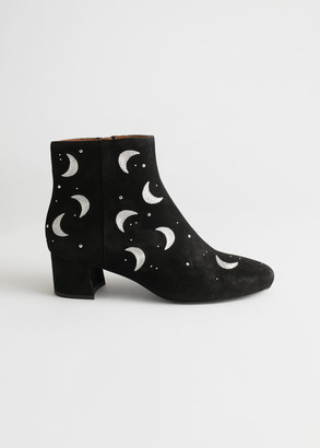 And other stories Crescent Moon Heeled Suede Boots