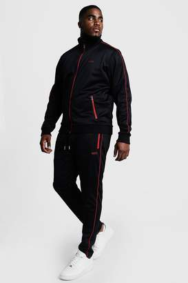 BoohoomanBoohooMAN Mens Black Big & Tall Tricot Tracksuit With Embroidery, Black