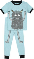 Petit Lem Monster Top & Pants Pajama Set, Teal, Size 5-6X