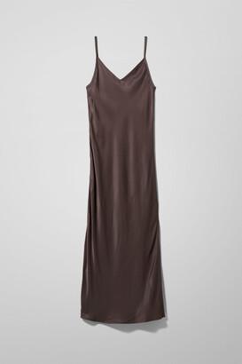 Weekday Susanna Strap Dress - Brown