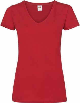 Fruit of the Loom Lady-Fit Valueweight T-shirt V-Neck Red red Size:XL