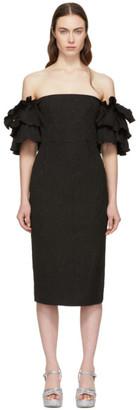 ALEXACHUNG Black Puff Sleeve Dress