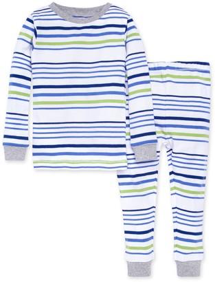 Burt's Bees Two Tone Multi-Stripe Snug Fit Organic Toddler Pajamas