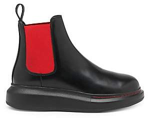 Alexander McQueen Women's Bi-Color Hybrid Leather Chelsea Boots