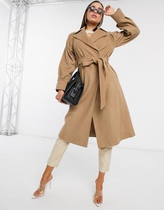 Helene Berman belted tailored wool coat in camel