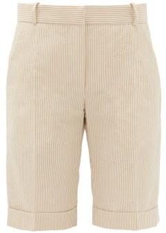 Pallas X Claire Thomson-jonville - Gianni Striped Seersucker-cotton Bermuda Shorts - Womens - Beige Stripe