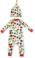 BedHead Ornament-Print Knit Coverall Pajamas w/ Hat